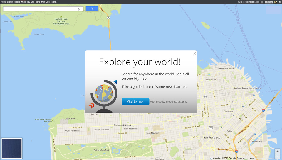Google maps onboarding kyle dehovitz one of the concepts we wanted to pursue was a global tour of google maps users who were so inclined to take a tour of the product could tour what new gumiabroncs Choice Image